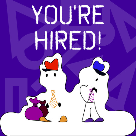 Conceptual hand writing showing You Re Hired. Concept meaning Used by huanalysis resources indicate employee that he is got job Figure of Two Men Standing with Pouch Bag White Snow Effect