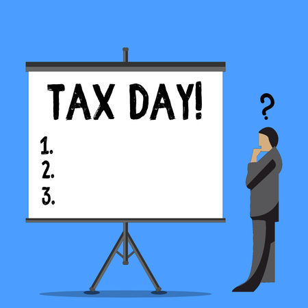 Word writing text Tax Day. Business photo showcasing colloquial term for time on which individual income tax returns Businessman with Question Mark Above his Head Standing Beside Blank Screen