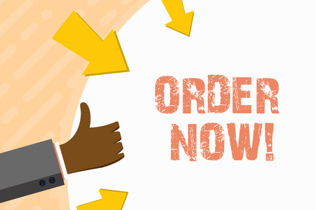 Word writing text Order Now. Business photo showcasing confirmed request by one party to another to buy or sell Hand Gesturing Thumbs Up and Holding on Blank Space Round Shape with Arrows