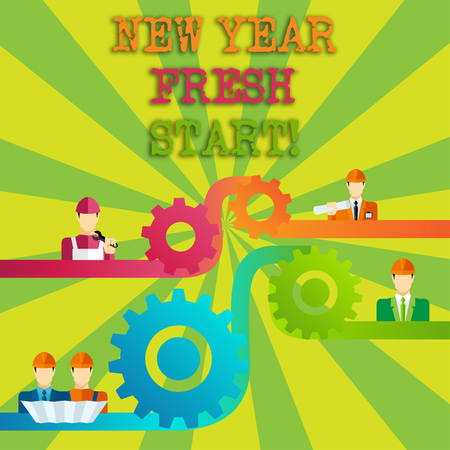 Word writing text New Year Fresh Start. Business photo showcasing Time to follow resolutions reach out dream job Cog Gear Setting Icon Connecting Men from Different Professional Character