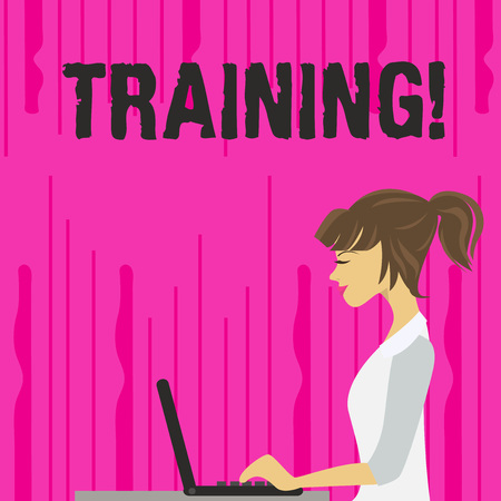 Text sign showing Training. Business photo text Organized activity to develop skill set of showing photo of Young Busy Woman Sitting Side View and Working on her Laptop Stock Photo