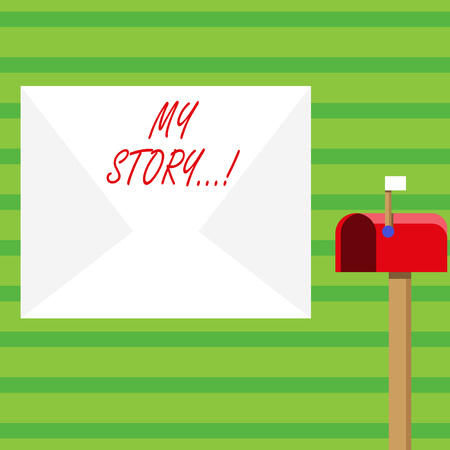 Word writing text My Story. Business photo showcasing your past life events actions career or choices you have made Blank Big White Envelope and Open Red Mailbox with Small Flag Up Signalling