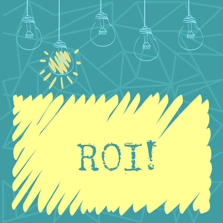 Handwriting text Roi. Conceptual photo Return on investment perforanalysisce measure gains business growth Set of Transparent Bulbs Hanging with Filament and One is in Lighted Icon