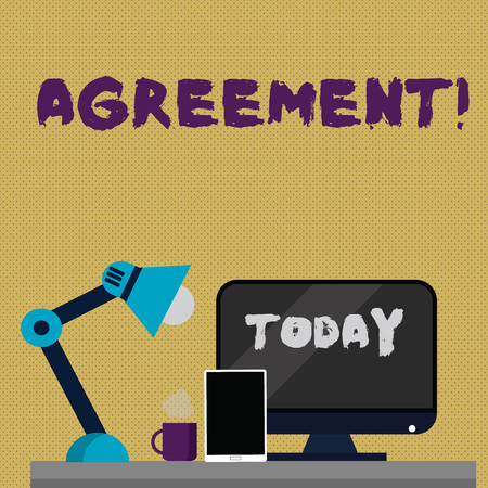 Writing note showing Agreement. Business concept for Business or demonstratingal closures made easy with better guidance Arrangement for Nightshift Worker Computer, Tablet and Lamp