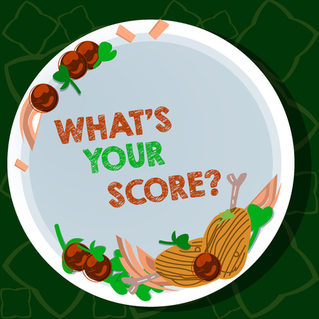 Handwriting text writing What S Your Score. Conceptual photo Personal grade rating on a competition game or study Hand Drawn Lamb Chops Herb Spice Cherry Tomatoes on Blank Color Plate