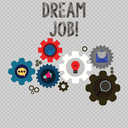 Writing note showing Dream Job. Business concept for involves having good work life balance make world better place Set of Global Online Social Networking Icons Cog Wheel Gear 스톡 콘텐츠