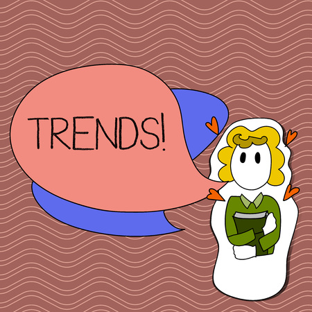 Word writing text Trends. Business photo showcasing General projected directions of something according to time Girl Holding Book with Small Hearts Around her and Two Color Speech Bubble Imagens