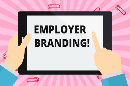 Word writing text Employer Branding. Business photo showcasing promoting company employer choice to desired target group Hand Holding Pointing Touching Blank Rectangular Color Tablet White Screen