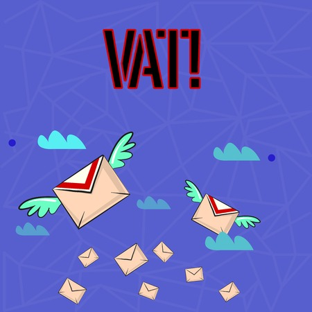 Writing note showing Vat. Business concept for Consumption tax levied on sale barter for properties and services Colorful Airmail Letter Envelopes and Two of Them with Wings Standard-Bild