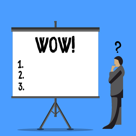 Word writing text Wow. Business photo showcasing Expression of somebody speechless amazed overjoyed Businessman with Question Mark Above his Head Standing Beside Blank Screen