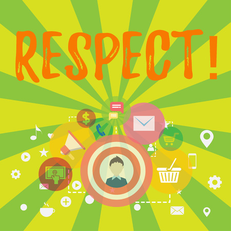 Conceptual hand writing showing Respect. Concept meaning Feeling of deep admiration for someone or something Appreciation photo of Digital Marketing Campaign and Elements for Ecommerce