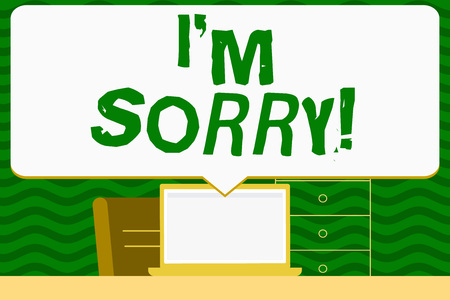 Writing note showing I M Sorry. Business concept for telling someone that you are ashamed or unhappy about something Speech Bubble Pointing White Laptop Screen in Workspace Idea Stock Photo