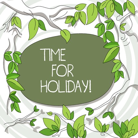 Writing note showing Time For Holiday. Business concept for telling someone that this moment for resting Summer Beach Tree Branches Scattered with Leaves Surrounding Blank Color Text Space