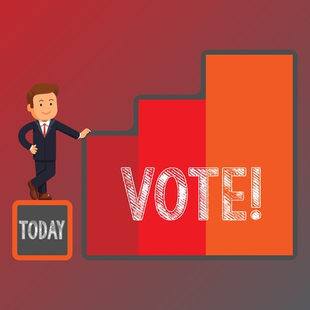Conceptual hand writing showing Vote. Concept meaning Formalized decision on important matters electing Businessman Presenting Growth and Success in Graph Columns