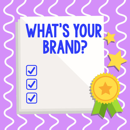 Conceptual hand writing showing What S Your Brand Question. Concept meaning asking about product logo does or what you communicate White Sheet of Parchment Paper with Ribbon Seal Stamp Label Foto de archivo