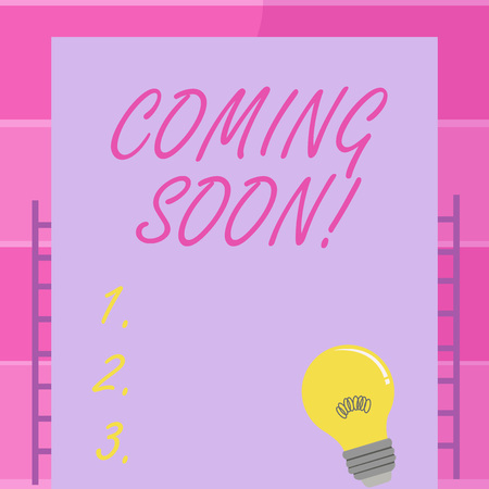 Handwriting text writing Coming Soon. Conceptual photo event or action that will happen after really short time Incandescent Light Bulb with Filament Inside Resting on Blank Color Paper