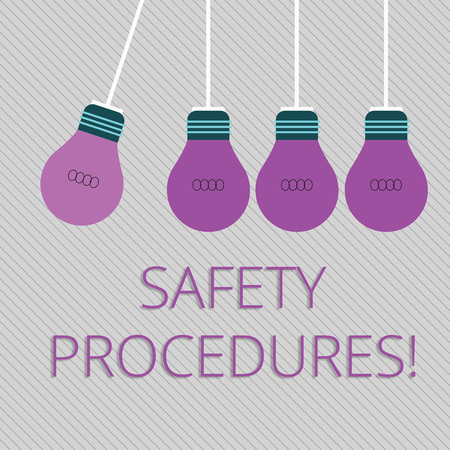 Word writing text Safety Procedures. Business photo showcasing Follow rules and regulations for workplace security Color Incandescent Pendant Bulb Hanging with One Different Shade Lightbulb Imagens