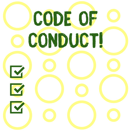 Conceptual hand writing showing Code Of Conduct. Concept meaning Follow principles and standards for business integrity Seamless Pattern of Loop Rings in Random on White Isolated Banco de Imagens