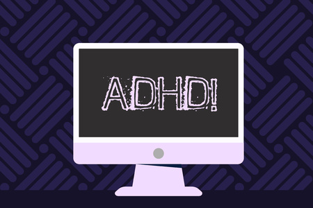 Writing note showing Adhd. Business concept for Learning made easier for children teaching no more a difficult task Blank Desktop Computer Colorful Screen Freestanding on Table