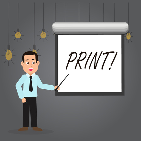 Word writing text Print. Business photo showcasing Produce letter numbers symbols on paper by machine using ink or toner Man in Necktie Talking Holding Stick Pointing to Blank White Screen on Wall