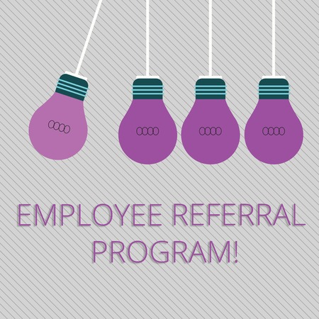 Word writing text Employee Referral Program. Business photo showcasing Recommend right jobseeker share vacant job post Color Incandescent Pendant Bulb Hanging with One Different Shade Lightbulb Stock Photo