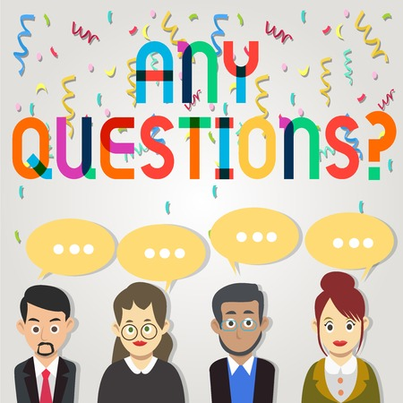 Text sign showing Any Questions. Business photo showcasing you say write order to ask demonstrating about something Group of Business People with Blank Color Chat Speech Bubble with Three Dots Zdjęcie Seryjne