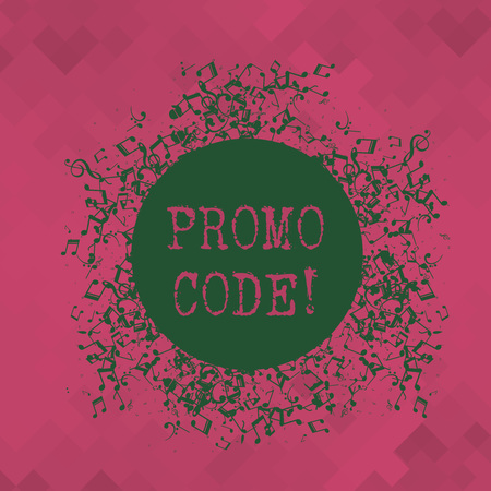 Conceptual hand writing showing Promo Code. Concept meaning consisting letters numbers consumers can enter obtain discount Disarrayed Jumbled Musical Notes Icon with Colorful Circle