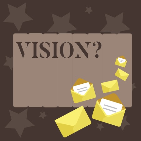 Conceptual hand writing showing Vision question. Concept meaning Company commitment describing future realistic state Closed and Open Envelopes with Letter on Color Stationery
