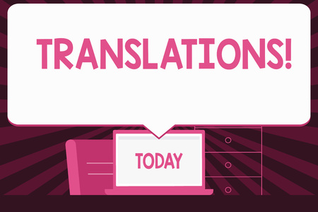Text sign showing Translations. Business photo text Written or printed process of translating words text voice Blank Huge Speech Bubble Pointing to White Laptop Screen in Workspace Idea Imagens