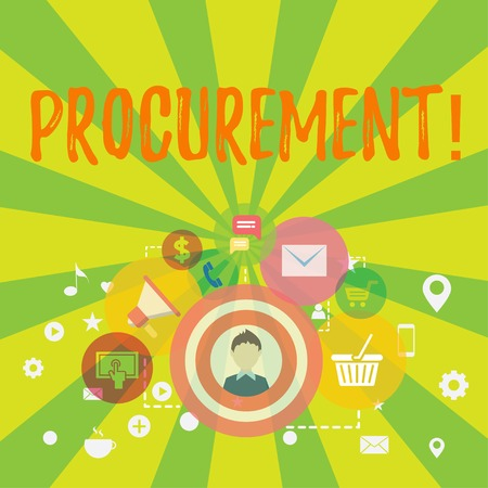 Conceptual hand writing showing Procurement. Concept meaning Procuring Purchase of equipment and supplies photo of Digital Marketing Campaign and Elements for Ecommerce