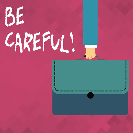 Word writing text Be Careful. Business photo showcasing making sure of avoiding potential danger mishap or harm Businessman Hand Carrying Colorful Briefcase Portfolio with Stitch Applique 免版税图像 - 119535981