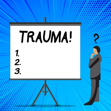 Word writing text Trauma. Business photo showcasing Disturbing physical and emotional injuries shock experience Businessman with Question Mark Above his Head Standing Beside Blank Screen