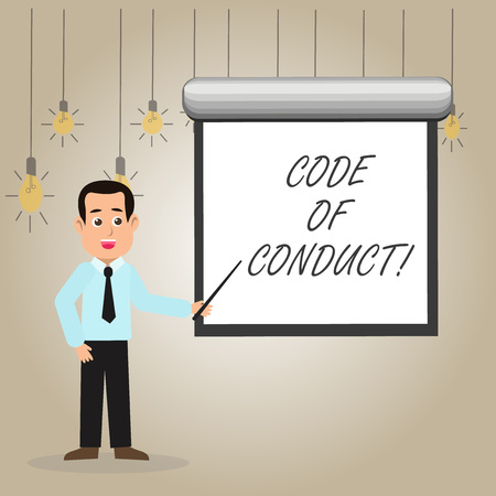 Writing note showing Code Of Conduct. Business concept for Follow principles and standards for business integrity Man in Necktie Holding Stick Pointing White Screen on Wall Foto de archivo - 119536377