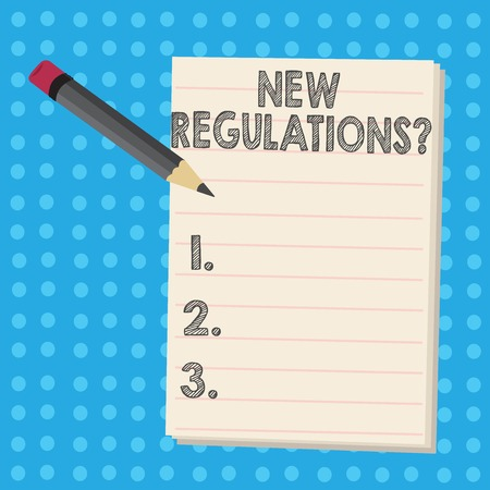 Writing note showing New Regulations Question. Business concept for rules made government order control way something is done Pencil with Eraser and Pad on Two Toned Polka Dot Background Reklamní fotografie