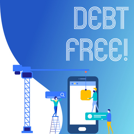 Text sign showing Debt Free. Business photo text does not owning any money or things to any individual or companies Staff Working Together for Common Target Goal with SEO Process Icons