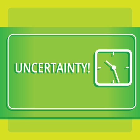Text sign showing Uncertainty. Business photo showcasing Unpredictability of certain situations events behavior Modern Design of Transparent Square Analog Clock on Two Tone Pastel Backdrop