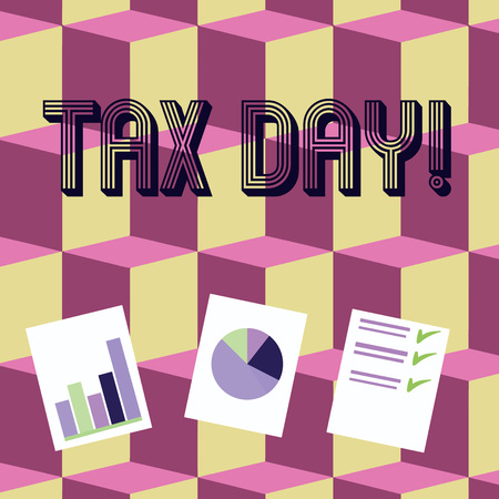 Writing note showing Tax Day. Business concept for colloquial term for time on which individual income tax returns Presentation of Bar, Data and Pie Chart Graph on White Paper