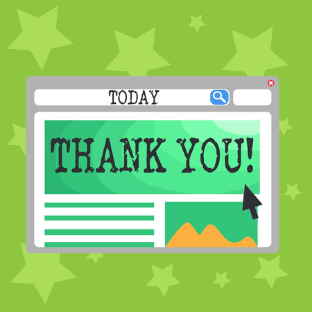 Text sign showing Thank You. Business photo text polite expression used when acknowledging gift service compliment Blank Template of Pastel Colorful Website Layout Design for Homepage Format Stock Photo