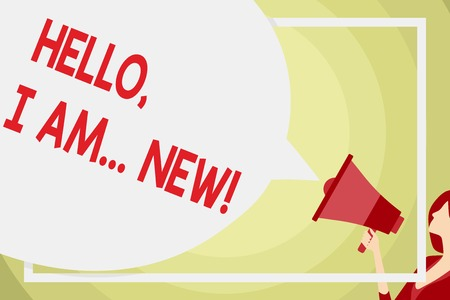 Conceptual hand writing showing Hello I Am New. Concept meaning used greeting or begin telephone conversation Speech Bubble Round Shape. Woman Holding Colorful Megaphone Banco de Imagens