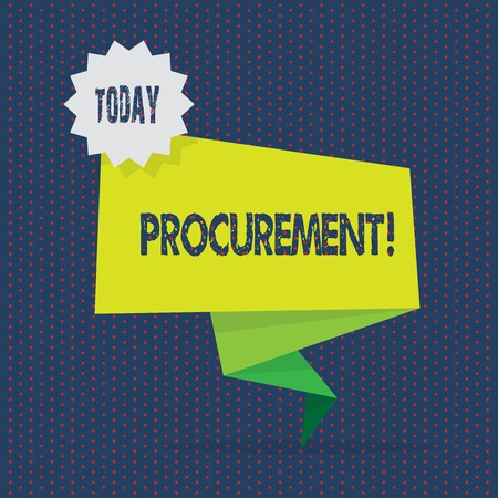 Conceptual hand writing showing Procurement. Concept meaning Procuring Purchase of equipment and supplies Two Tone Green Folded Back Banner Strip with Stamp Sticker