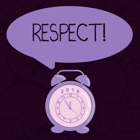Conceptual hand writing showing Respect. Concept meaning Feeling of deep admiration for someone or something Appreciation Speech Balloon Pastel Shade and Colorful Analog Alarm Clock Stock Photo