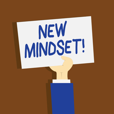 Writing note showing New Mindset. Business concept for mental attitude of demonstratings responses to certain situations Clipart of Hand Holding Up Sheet of Paper on Pastel Backdrop