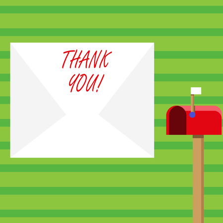 Word writing text Thank You. Business photo showcasing polite expression used when acknowledging gift service compliment Blank Big White Envelope and Open Red Mailbox with Small Flag Up Signalling