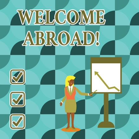 Handwriting text writing Welcome Abroad. Conceptual photo something that you say when someone gets on ship Businesswoman Holding Stick Pointing to Chart of Arrow Upward on Whiteboard Stock fotó