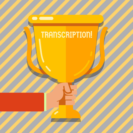 Text sign showing Transcription. Business photo showcasing Written or printed process of transcribing words text voice Hand Holding Blank Golden Championship Winners Cup Trophy with Reflection