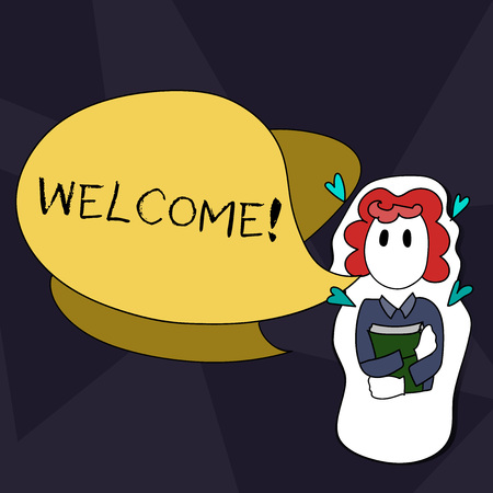 Handwriting text writing Welcome. Conceptual photo Warm salutation acknowledgement for someone amiable loved thanked Girl Holding Book with Small Hearts Around her and Two Color Speech Bubble Stock Photo