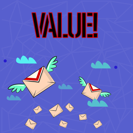 Writing note showing Value. Business concept for Something or someone regarded as highly significant valuable Colorful Airmail Letter Envelopes and Two of Them with Wings Reklamní fotografie