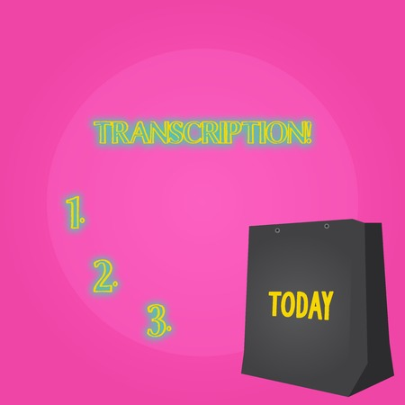 Text sign showing Transcription. Business photo showcasing Written or printed process of transcribing words text voice Color Gift Bag with Punched Hole but Without Handle on Twotone Blank Space Stock fotó