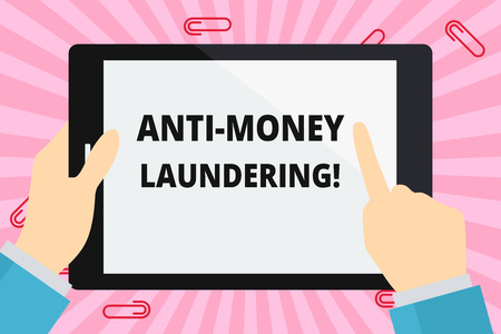 Word writing text Anti Money Laundering. Business photo showcasing regulations stop generating income through illegal actions Hand Holding Pointing Touching Blank Rectangular Color Tablet White Screen Stock Photo