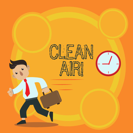 Writing note showing Clean Air. Business concept for forbidding in certain areas burning any fuel that produces smoke Man Carrying Briefcase Walking Past the Analog Wall Clock